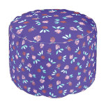 Clover Flowers Round Polyester Pouf