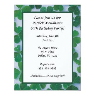 "Clover Frame Birthday Party Invitation Shamrock 4.25"" X 5.5"" Invitation Card"