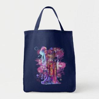 Clover Geisha Grocery Tote Canvas Bag