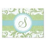 "Clover Green and Aqua Damask Wedding RSVP 3.5"" X 5"" Invitation Card"