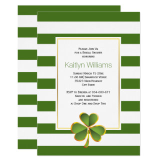 Clover, green stripes Irish wedding bridal shower Card