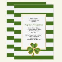 Clover, green stripes Irish wedding bridal shower Invitation