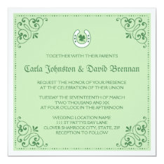 Clover Horseshoe Green St Patrick's Day Wedding Card at Zazzle