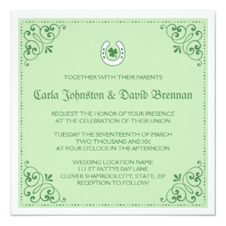 Clover horseshoe green St Patrick's day wedding Card