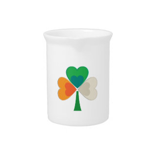 clover in irish flag colors beverage pitcher