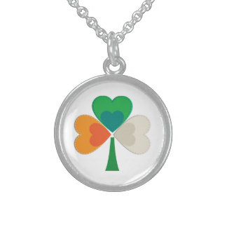 clover in irish flag colors sterling silver necklace