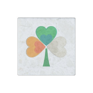 clover in irish flag colors stone magnet