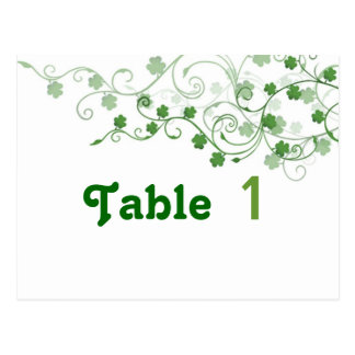 Clover Irish Table Number Postcard