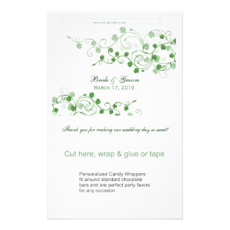 Clover Irish Wedding Candy Wrappers Flyers