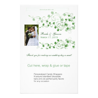 Clover Irish Wedding Candy Wrappers Flyer
