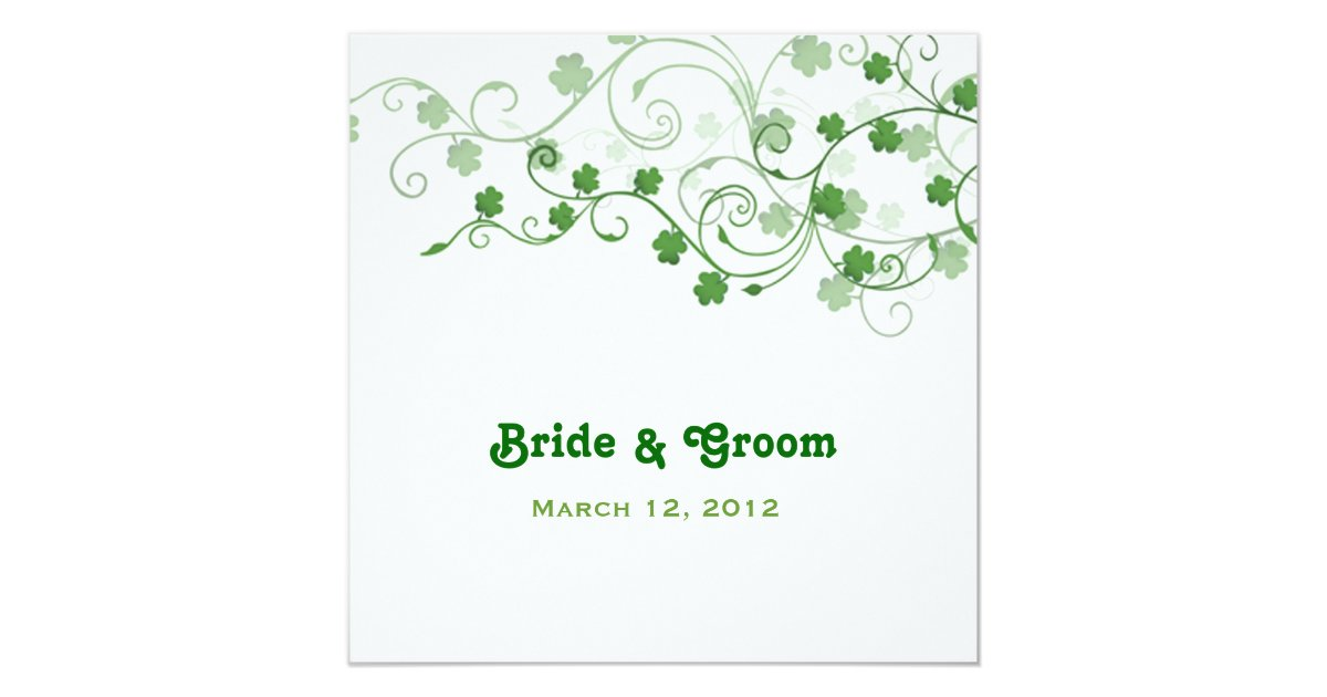 Clover Irish Wedding Invitation | Zazzle.com