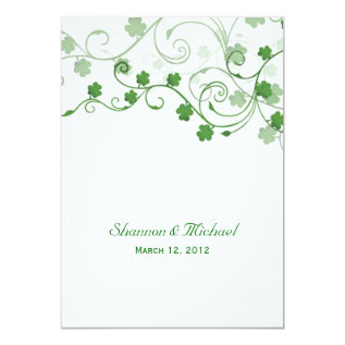 Clover Irish Wedding Invitation at Zazzle