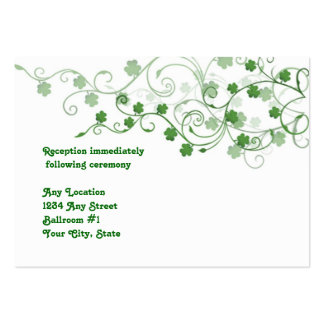 Clover Irish Wedding Reception  Card Large Business Cards (Pack Of 100)