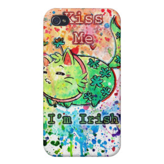 Clover Kitten Kiss Me I'm Irish iPhone Case Case For iPhone 4