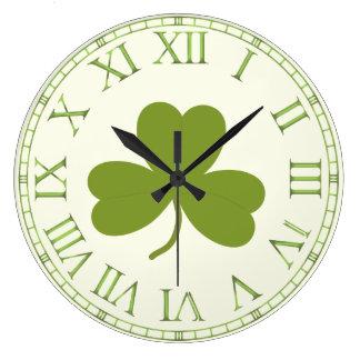 Clover Leaf, shamrock st patrick's day Large Clock