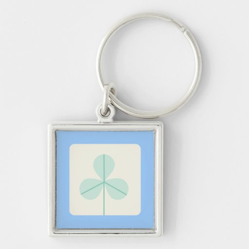 Clover Leaf Three Green Trefoil Luck Irish Cartoon Key Chains