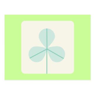 Clover Leaf Three Green Trefoil Luck Irish Cartoon Postcard
