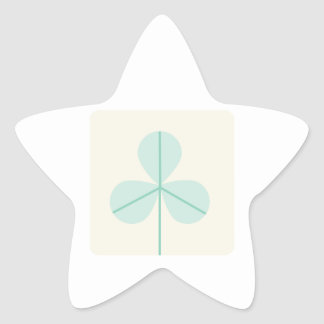 Clover Leaf Three Green Trefoil Luck Irish Cartoon Star Sticker
