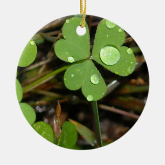 Clover Leave Double-Sided Ceramic Round Christmas Ornament