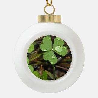 Clover Leave Ceramic Ball Christmas Ornament