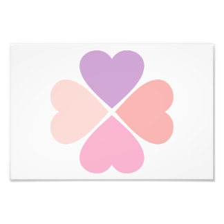 Clover of the pink love of hearts of San Valentin Photo Print