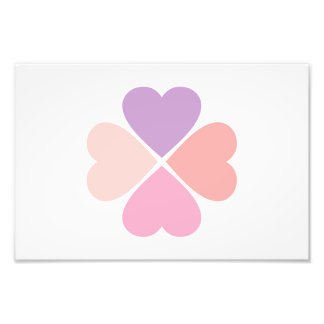 Clover of type of hearts day of San Valentin Photo Print