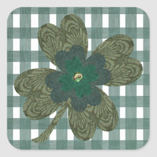 Clover on Gingham Stickers