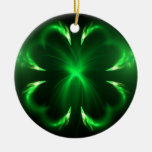 Clover Double-Sided Ceramic Round Christmas Ornament