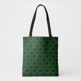 Clover Outline Patterned Black Tote Bag