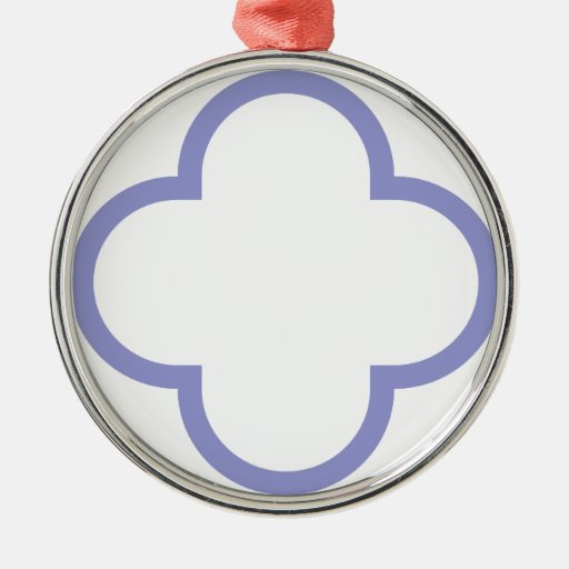 Clover Pattern 1 Violet Tulip Round Metal Christmas Ornament