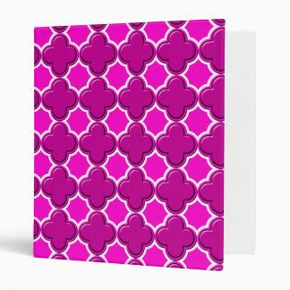Clover Pattern 2 Pink 3 Ring Binder