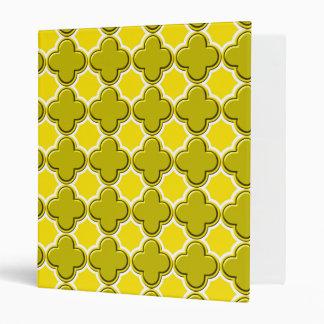 Clover Pattern 2 Yellow 3 Ring Binder