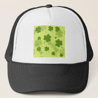 Clover pattern on light green background trucker hat