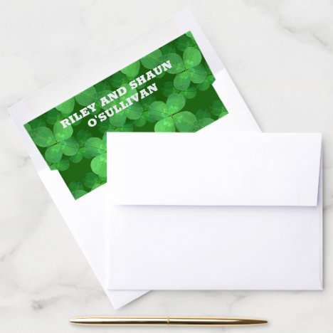 Clover Pattern Stylish Country Garden Wedding Envelope Liner
