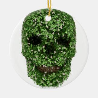 Clover Skull Ceramic Ornament
