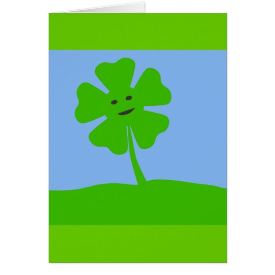 Clover-smile787 CARTOON FOUR LEAF CLOVER IRISH Card