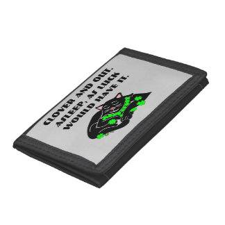 Clover The Lucky Black Cat Tri-fold Wallets