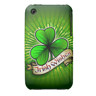 Clover with 'Irish Wishes' banner Case-Mate iPhone 3 Case