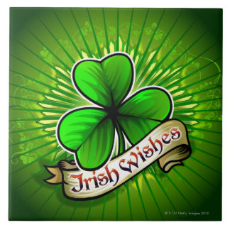 Clover with 'Irish Wishes' banner Ceramic Tile