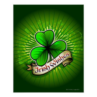 Clover with 'Irish Wishes' banner Poster