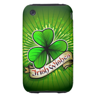 Clover with 'Irish Wishes' banner Tough iPhone 3 Cover