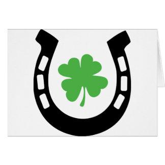 Cloverleaf de herradura de la buena suerte - trébo tarjeta de felicitación