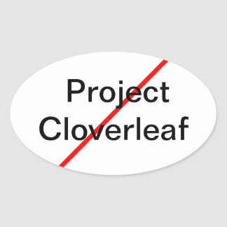 Cloverleaf del proyecto del final pegatina ovalada