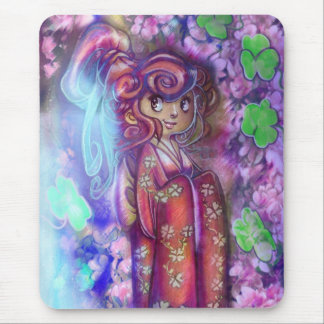 Clovers and Cherry Blossoms Geisha Mouse Pad
