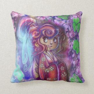 Clovers and Cherry Blossoms Geisha Pillow Pillows