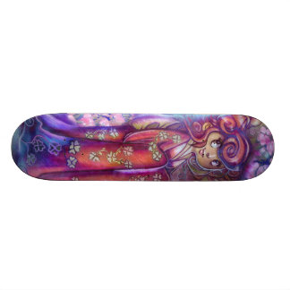 Clovers and Cherry Blossoms Geisha Skateboard Deck