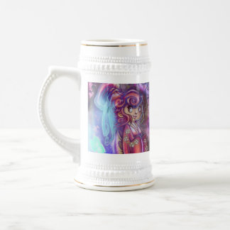 Clovers and Cherry Blossoms Geisha Stein
