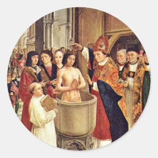 Clovis' Baptism By Meister Des Heiligen Ägidius (B Classic Round Sticker