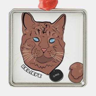 Clovis cree con la etiqueta adorno navideño cuadrado de metal
