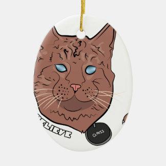 Clovis cree con la etiqueta adorno navideño ovalado de cerámica